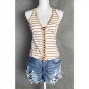 Free People Halter Top Beige striped button tank